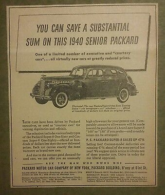 1940 Packard Super 8 One-Touring Sedan Automobile Ad