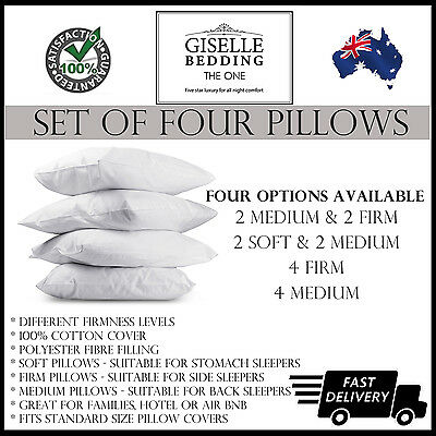 Set of 4 Soft Firm Medium Pillows Different Polyester Fibre Filling Cotton Cover
