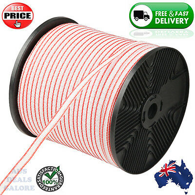 400m Roll Electric Fence Energiser Poly Tape Insulator Farm Supplies Fencing