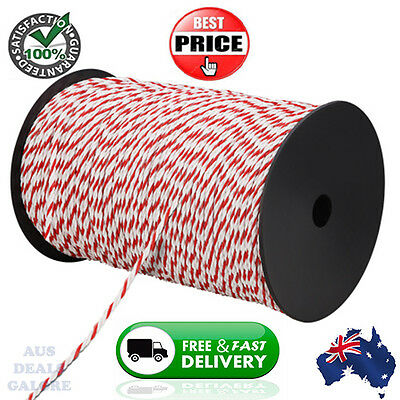 500m Roll Electric Fence Energiser Poly Rope Insulator Farm Wire Livestock