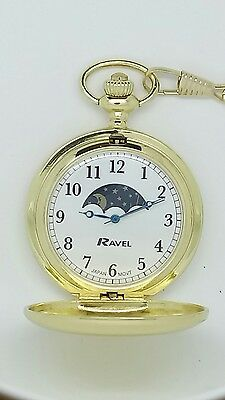 pocket watch by Ravel gold tone moonphase