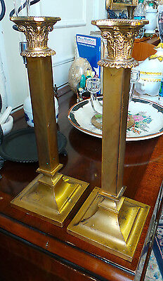 Antique Vintage Elegant Pair Of  Gilded Metal Candle Holders Art Deco Style