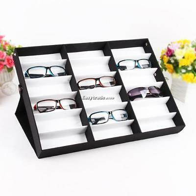 Sunglasses Case Display Rack Holder Stand Organizer Storage 18 Eyewear Tray Box