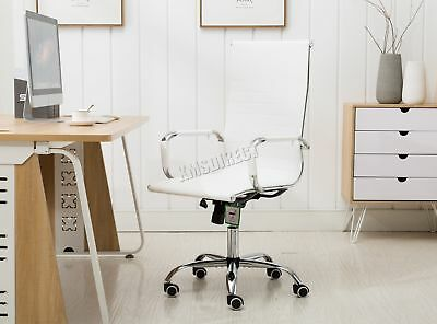 FoxHunter Home Computer Office Chair Faux Leather PU Swivel High Back OC12 White
