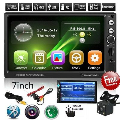 """HD 7"""" Double 2Din In Dash Car Stereo DVD Player GPS Navigation BT Radio +CAMERA"""