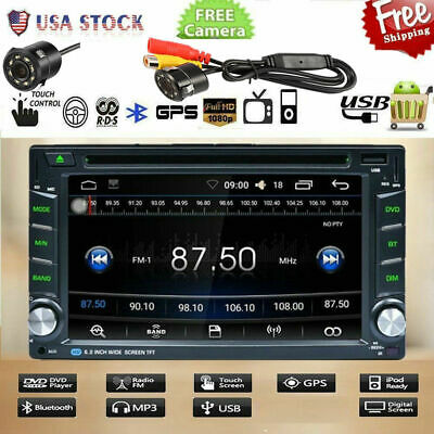 """6.2"""" Double 2 DIN Car Radio Stereo Bluetooth DVD Player GPS Navigation + Cam BE5"""