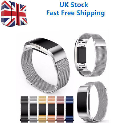 Magnetic Milanese Loop Watch Band Strap For Fitbit charge 2 UK Stainless Steel