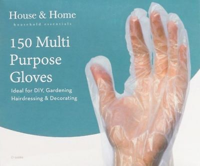 150 x Multi Purpose Transparent Plastic Safety Gloves Disposable Hairdressing