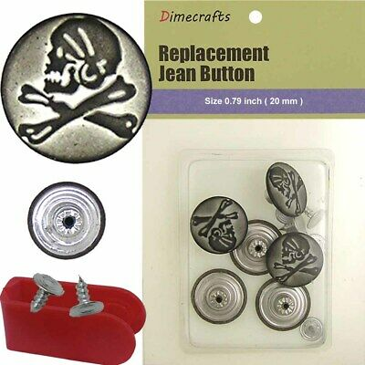 20 mm No-Sew Replacement Jean Tack Buttons ABA85 6 CT.
