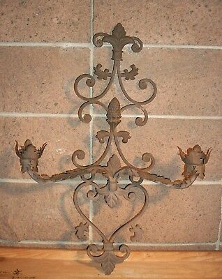 Vintage Wrought Iron & Tin 2 Candle Wall Sconce. Medieval Gothic Castle Antique