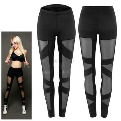US Sexy Women Mesh Stretchy Leggings Gym Workout Sport Fitness Skinny Long Pants