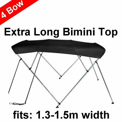 240cm Extra Long 4 Bow 1.3m-1.5m Boat Bimini Top Canopy Cover 130cm height Black