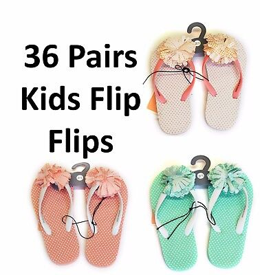 Job Lot 36 Pairs Flip Flops New Girls Jelly Flipflops Slippers Wholesale Joblot
