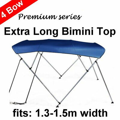 240cm Extra Long 4 Bow 1.3m-1.5m Boat Bimini Top Canopy Cover 130cm height Blue