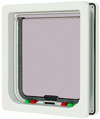 Lockable Cat Flap Mate Glass Door Pet Dogs Kittens White 4 Way Large Fitting