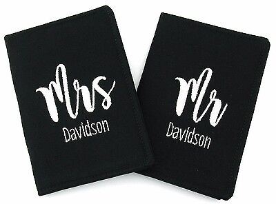 Personalised Mr and Mrs Passport Cover Holder Set of 2, Destination Wedding Gift