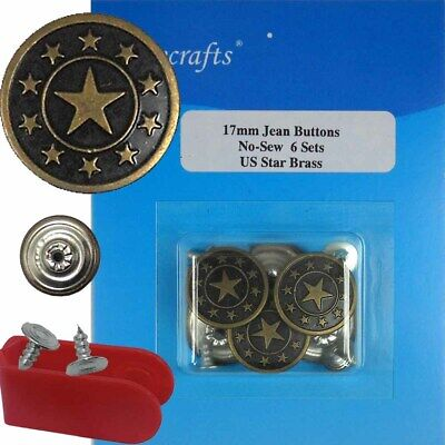 6 CT. A0F72 20 mm No-Sew Replacement Jean Tack Buttons