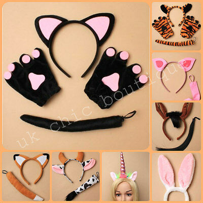 Animal Ears Headband Tail Safari Fancy Dress Costume Outfit Children Adult NEW