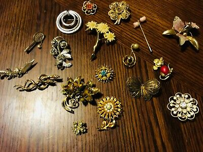 Vintage lot 19 brooches pins rhinestone filagree butterfly flowers