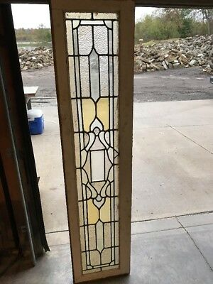 Brick 7 Antique Stained And Textured Glass Transom Window 15 X 64.5