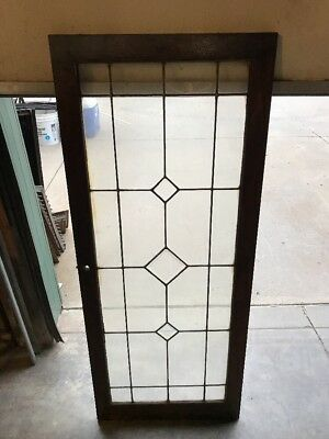 Brick 9 Triple Bevel Antique Leaded Glass Bookcase Door Or Window 20 X 48.25