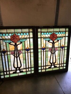Brick 10 Match Pair Antique Stained Glass Art Nouveau Landing Window 34 X 46.75