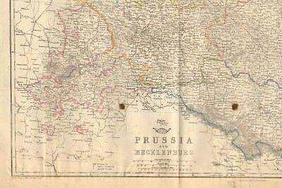 1863  Large Antique Map - Dispatch Atlas- Prussia And Mecklenburg