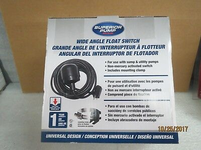 Superior Tethered Pump Switch #92000 Wide Angle Float Switch