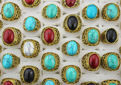 Wonderful Mixed color Lots 35pcs Turquoise stone Gold Plated Vintage Big Rings
