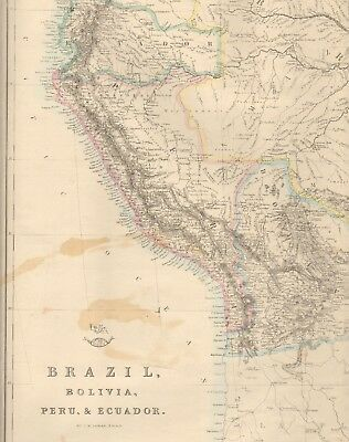 1863  Large Antique Map - Dispatch Atlas- Brazil, Bolivia, Peru & Ecuador
