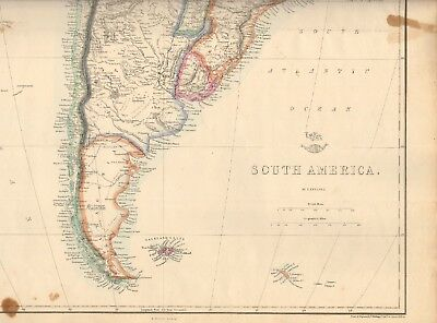 1863  Large Antique Map - Dispatch Atlas- South America
