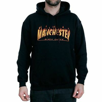 Black Sheep Manchester Rain Of Fire Thrasher Black Hooded Sweatshirt Hoodie New