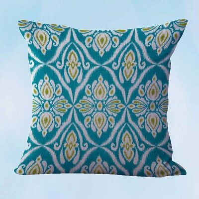 Us Seller Teal Ikat Accent Cushion Cover Outdoor Throw Pillow