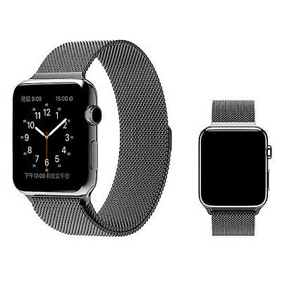 Milanese Stainless Steel Mesh Watch Band Strap For Apple Watch 42mm UK - Black