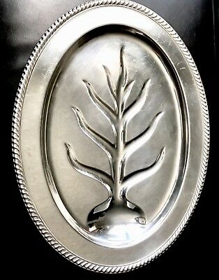 Wm ROGERS OVAL SILVER PLATED FOOTED MEAT Turkey Carving SERVING TRAY TREE WELL