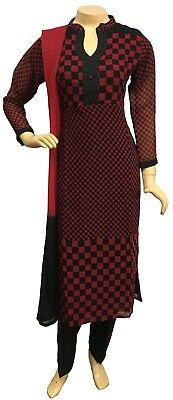 Indian Pakistani Printed Chiffon Suit, Casual Salwar Kameez Shalwar, Stitched
