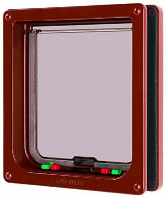 Brown Lockable Cat Flap Mate Glass Door Pet Dogs Kittens 4 Way Large Fitting