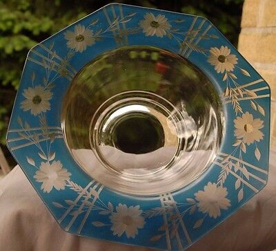 Antique Rare  Bohemian Style Blue And Clear  Bowl