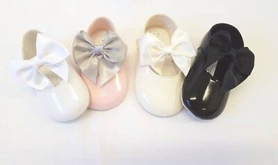 NEW Spanish Style Baby Girls Large Bow Patent Soft Sole Pram Shoe 0-18 Month