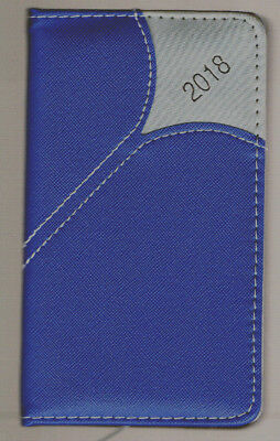"""2018 WEEKLY BLUE-Gray PADDED Pocket  Calendar PLANNER 6X3.5""""  LINED Faux Leather"""