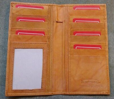 Mens Womens Brown Tan GENUINE LEATHER Checkbook Cover Credit Card Holder Wallet
