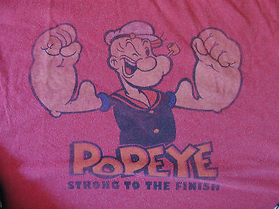 Vintage Distressed Style POPEYE Sailor cartoon comic Shirt Captain's Hat Muscle