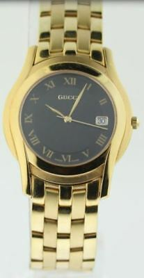 478e5e449e5 NEW! GUCCI 5505 LADIE S WATCH BLACK Dial Gold-Tone Stainless Steel ...