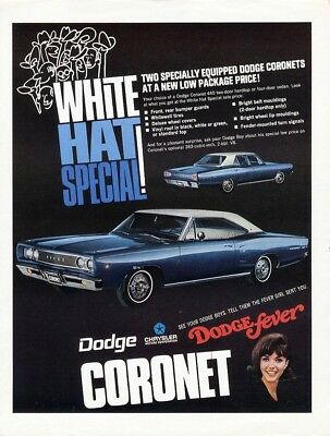 DODGE Fever CORONET Auto Car Ad 1968 Chrysler Two Tone 2 Door