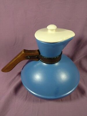 bc Catalina Island Pottery Matte Light Blue Carafe W/ Lid and Wooden Handle