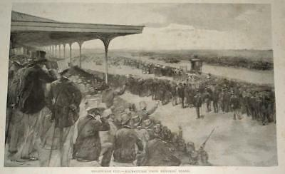 Antique 1880's MELBOURNE CUP RACE-COURSE WOOD ENGRAVING PRINT- Genuine 130years