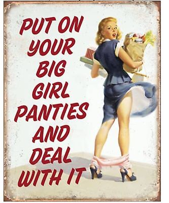 Put On Your Big Girl Panties Deal With It Metal Tin Sign Humor Picture Gift New