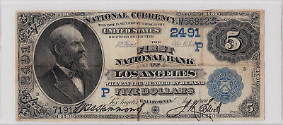 $5.00 1882 DB First National Los Angeles California LA CA Rare Only 15 on Census