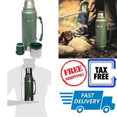 Thermos Vacuum Bottle Coffee Stanley Classic Stainless Steel Green 1.1 Quart New