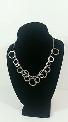 Fancy Round Circle Link Chain Necklace 925 Sterling Silver modern sexy geometric